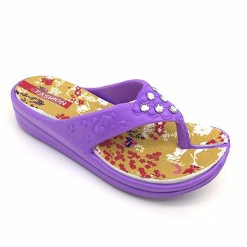 09fc22a2b Latest ladies high heel eva slippers diamonds ornament on the strap for girls  purple flip flops