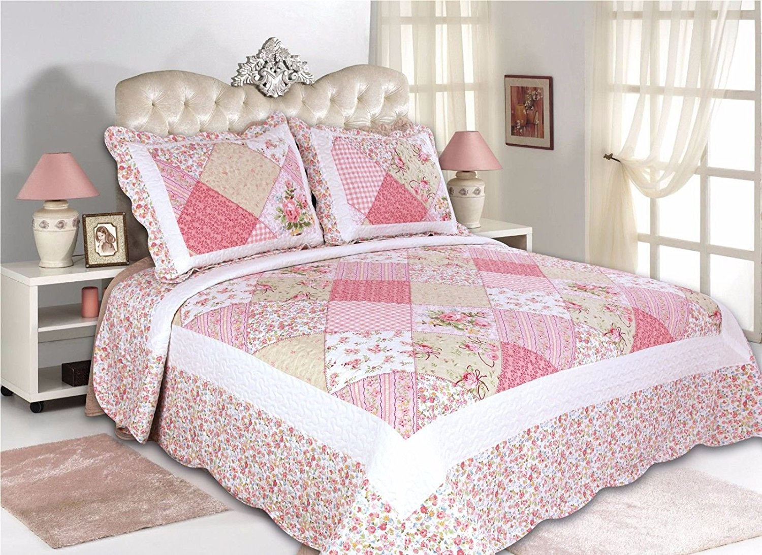 39-All-For-You-3PC-quilt-set-bedspread-coverlet-patchwork-prints/Full-Queen sizes