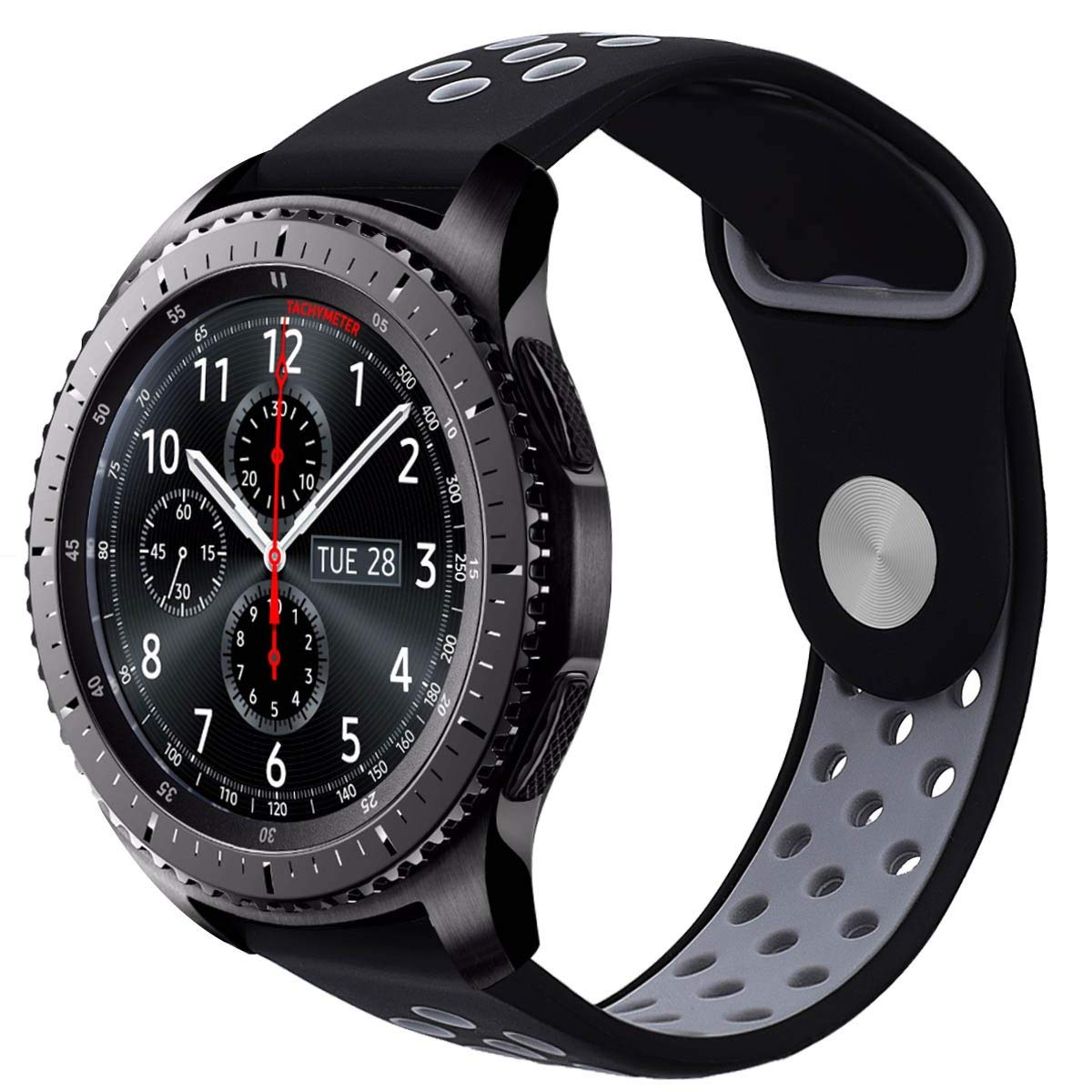 Galaxy Watch 46mm / Gear S3 Classic / S3 Frontier Bands, VIGOSS 22mm Soft Silicone Band Breathable Replacement Strap Wristband for Samsung Gear S3 Frontier/Classic Smart Watch (1-Black/Grey)
