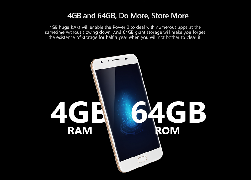 Original Ulefone Power 2 Mobile Phone 5.5 FHD MTK6750T Core Android 7.0 4GB RAM 64GB 16MP 6050mAH 4G Smartphone