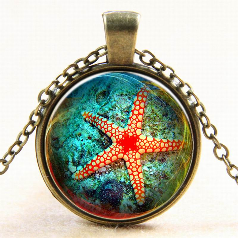 The underwater world charms necklace Cabochon Jewelry Antique Silver Alloy Galaxy Collar Starfish Statement Necklaces For Women