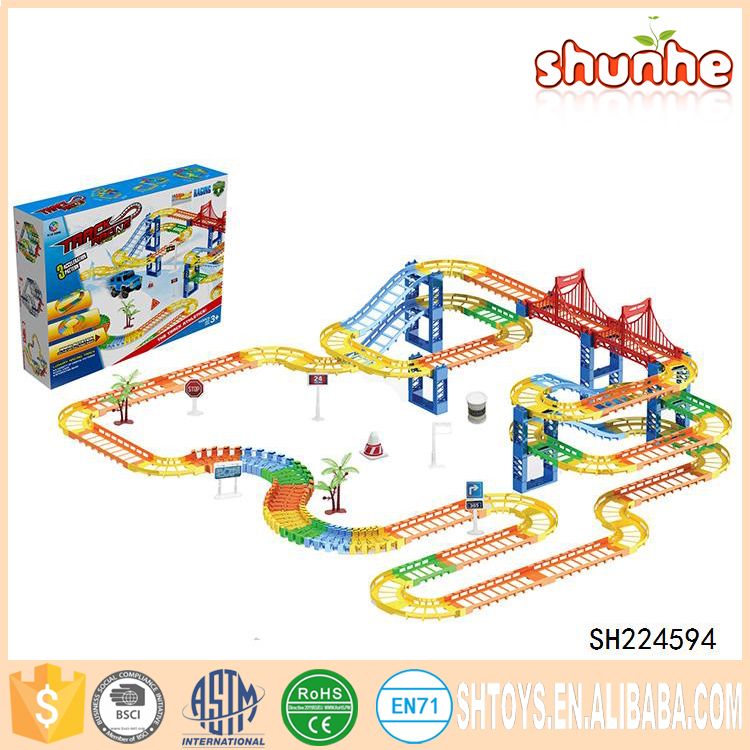 Kids Toys Cars Race Tracks Stunt Rubber Electric Train