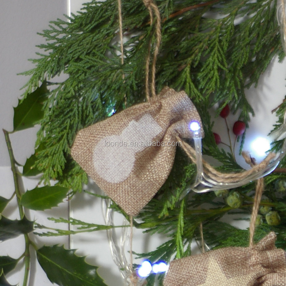 Promotion removal hessian jute fabric Christmas tree decoration bag for gift