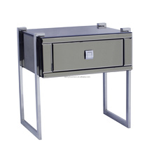 Modern style Stainless steel legs 1 drawer grey colored mirror nightstand bedside table