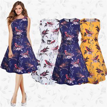 Hd 17 Europe And America Summer Fl Dress 1960s 1950s Women Vintage Cotton Print Flower