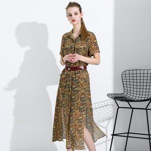 New Fashion Sexy Camouflage 100% Silk Shirt Dress with Belt