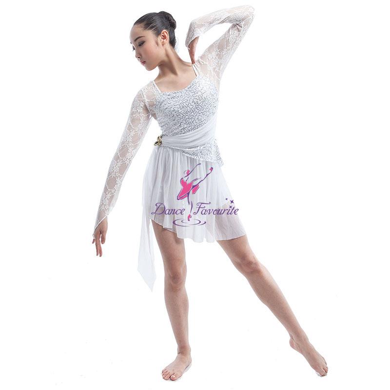 Lyric lyrical dance dresses : Ballet And Lyrical Dance Costume White Sequin Dress Lycra Short ...