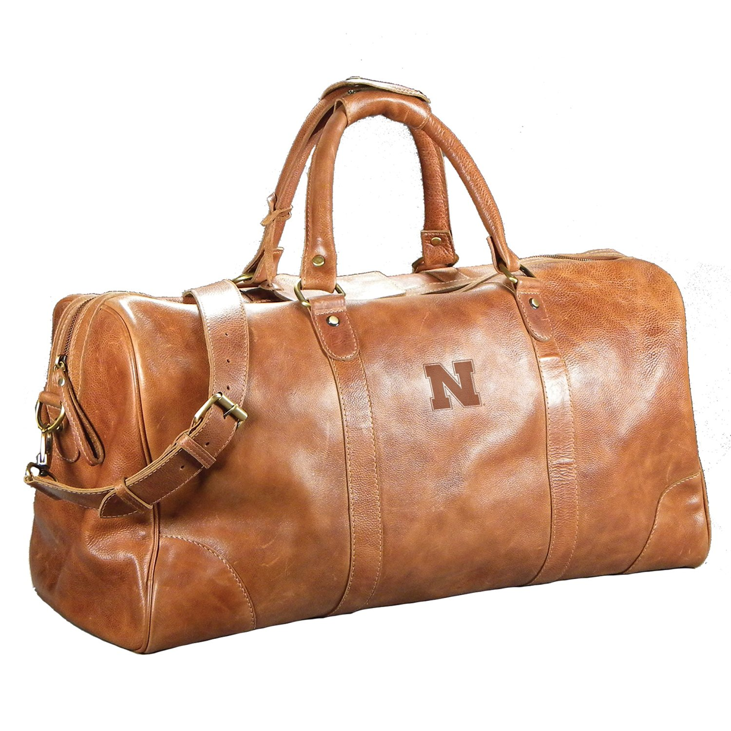 Get Quotations · University of Nebraska Large Leather Duffel Bag a2db89dc1e0d8
