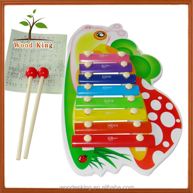 Factory Direct Sale Supply Learning Resources Educational Toys Wood Snail Cartoon Animals Baby Musical Wooden Toy Piano