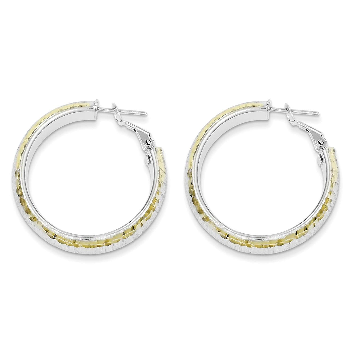 .925 Sterling Silver w/Gold-tone Brushed Finish Hoop Earrings 9mm x 32mm