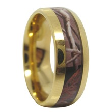 8mm gold tungsten carbide mens ring camo camouflage hunting wedding band