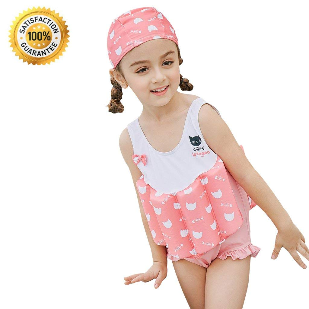 304cf3bae5 Get Quotations · IvyH Girls Floating Swimsuit - Baby Kids One Piece  Buoyancy Swimsuit Beach Costume Kids Swimming Sleeveless