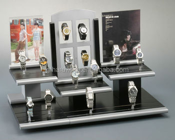 Custom hoge kwaliteit acryl of houten basis met led licht horloges display stand acryl materiaal