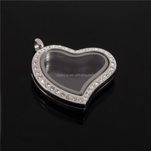 Stainless steel magnetic crystal heart floating locket pendant jewelry