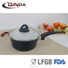 Forged non-stick ceramic sauce pan/milk pan with silicon handle