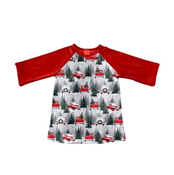 long sleeve red car and tree patterns toddler girl raglan custom high quality clothes