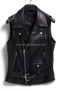Hot Sell High Quality PU Leather Biker Silver Belted Vest For Men
