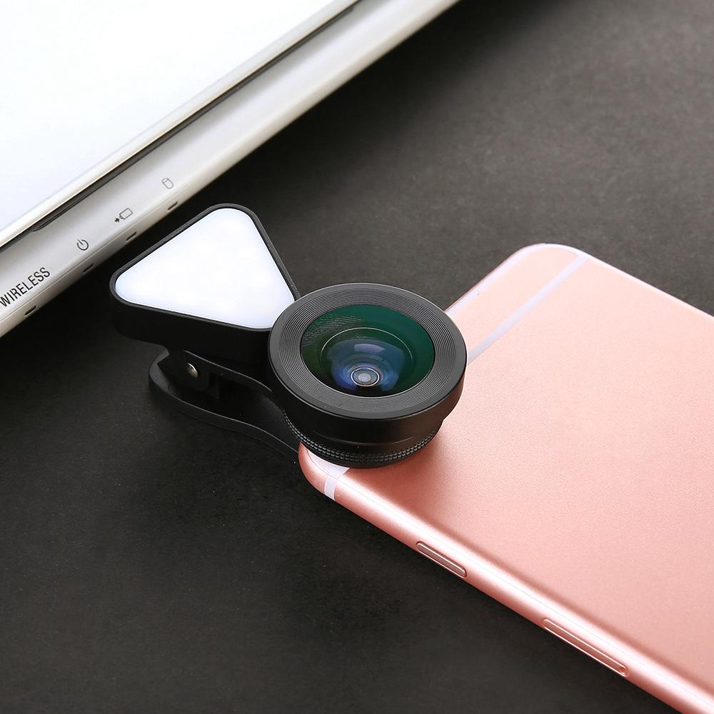Universal selfie ring light rechargtable Wide Angle 15X lens Macro Clip On phone selfie flash Portable mini selfie light