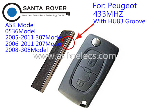 Remote key for Peugeot 307 207 308 flip folding remote key 2 Button HU83 Groove Blade