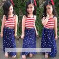 2016 Summer Girls Set sling dress 2pcs set T shirt suit children clothing striped suit pentagram