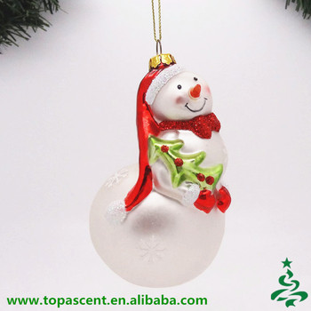 2015 lovely blown glass christmas indoor snowman decoration wholesales from direct factory in china