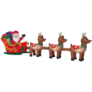 Rooftop inflatable santa claus sleigh & trio reindeers souvenir gift festival decor