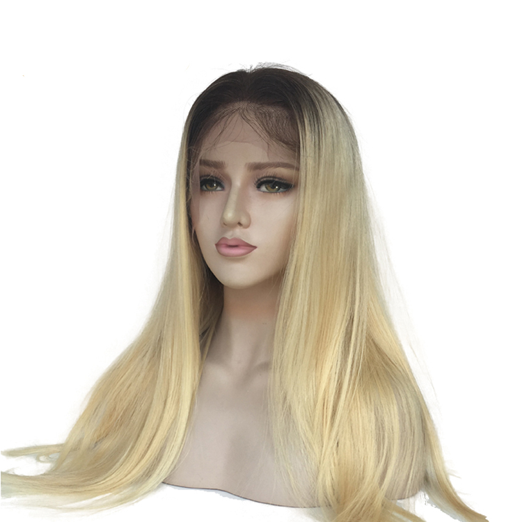 High Density Cuticle Aligned Peruvian Human Hair Straight Ombre Color Wig Lace Front With Bleached Knots, Wholesale Raw Hair, N/a