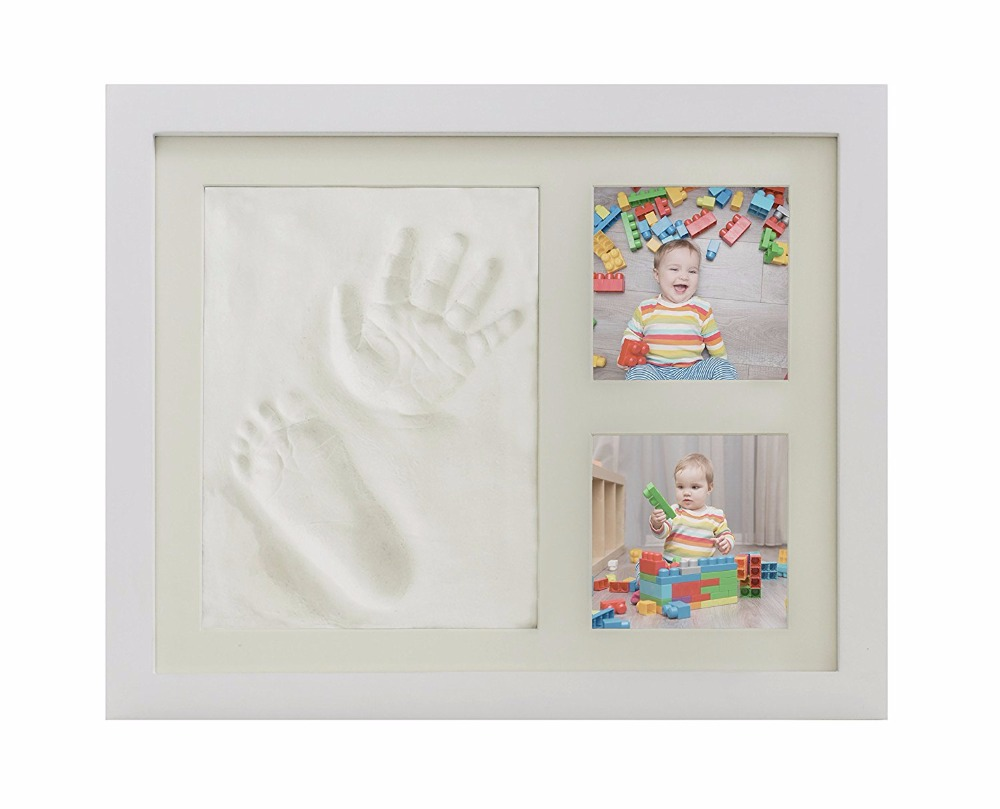 Baby Handprint Kit & Footprint Photo Frame for Newborn Girls and Boys, Unique Baby Shower Gifts Set for Registry, Memorable Keep