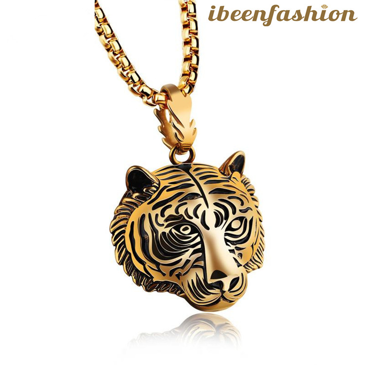 Hot Selling Hip Hop Accessories Tiger Head Pendant Stainless Steel Necklace Wholesale Promotional, As the picture