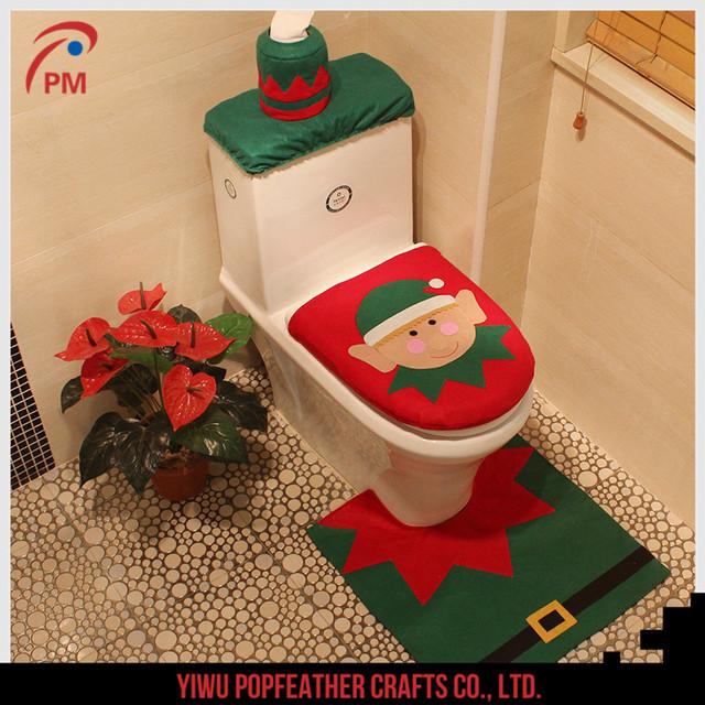 pm 1249 2017 elf christmas toilet sets decorations christmas supplies bathroom decoration - Christmas Bathroom Decorations