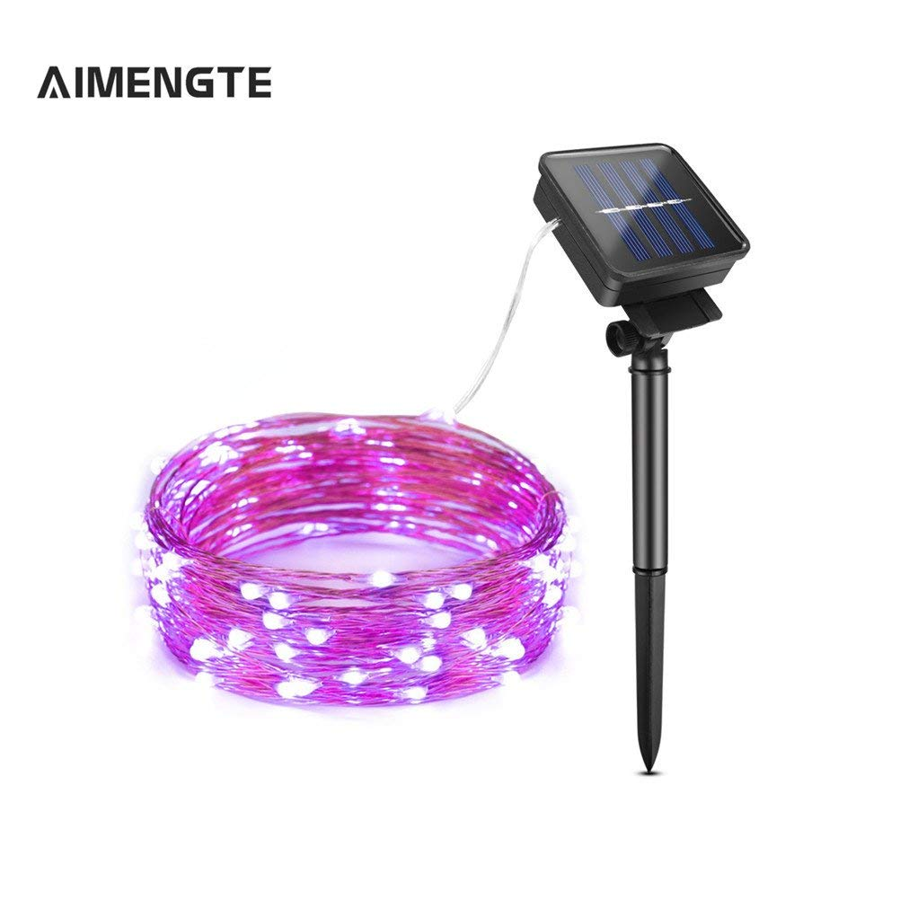 AIMENGTE Solar Powered String Lights,100 LED/200 LED Copper Wire String Lamp, IP65 Waterproof Outdoor Indoor Decorative Lights for Bedroom, Patio, Camping, Wedding, Xmas, Garden, Party. (10, Purple)