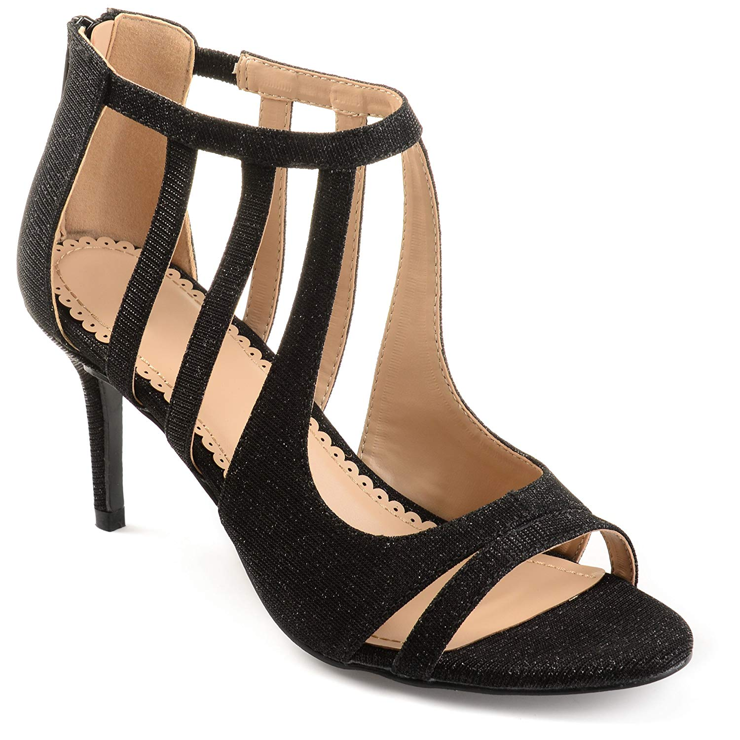 a46b9fbf6885 Get Quotations · Journee Collection Womens Cut-out Open-toe Glitter Caged  Heels