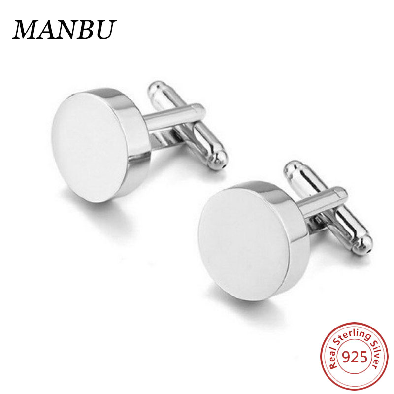 For Gift Men's Rhodium Plated Round 925 Sterling Silver Cufflinks Blanks