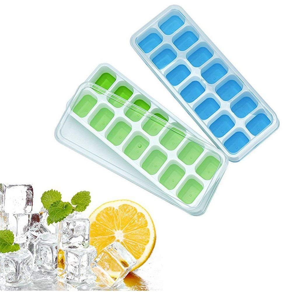 Perfect Size Silicone Ice Cube Trays 2 Pack Easy-Release Silicone and Flexible 28-Ice Trays with Unique Removable Lid, Make Larger Ice Cubes, BPA Free, Stackable Durable and Dishwasher Safe