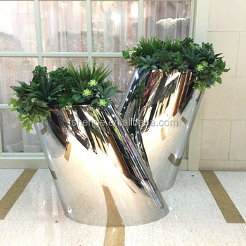 Metal Silver Planter Pots Stainless Steel Planter Boxes For Flower