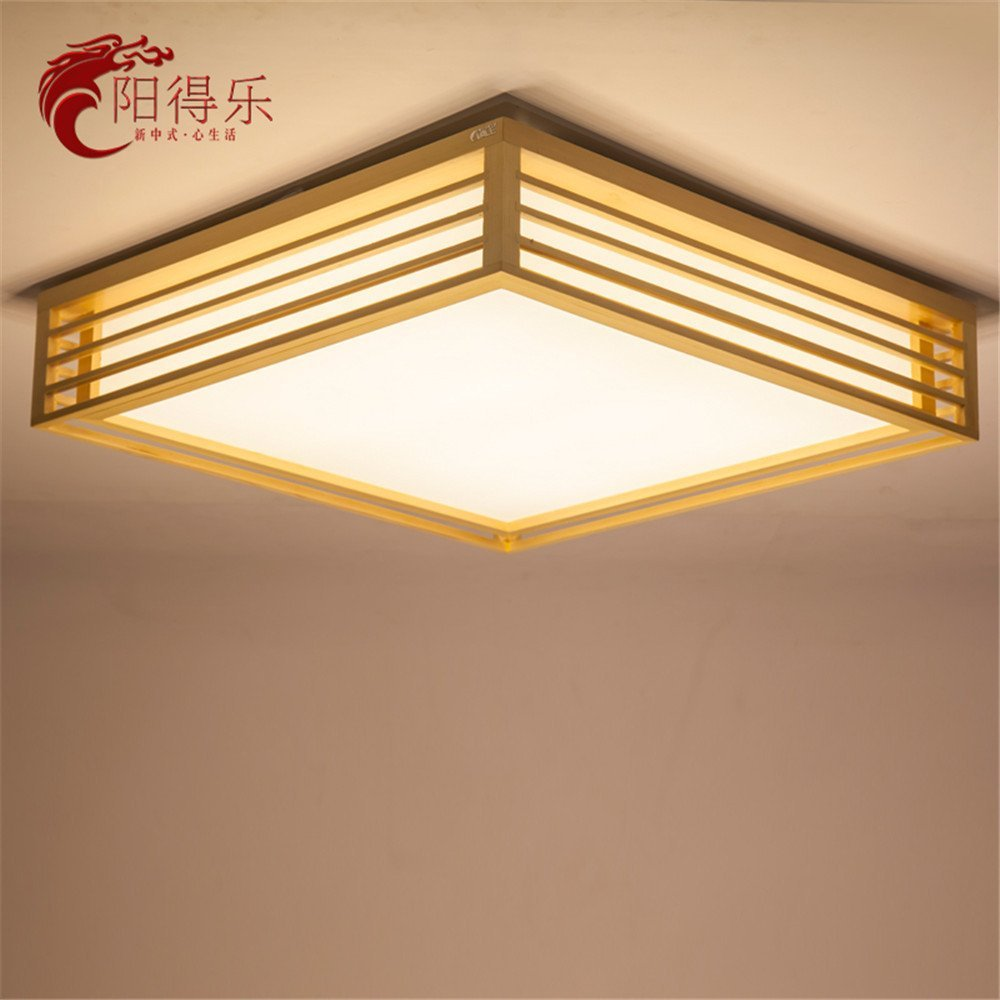 Modern LED Pendant Flush Mount Ceiling Fixtures Light Chinese Ceiling Light Japanese Tatami Ceiling Lamp Warm Solid Wood Square LED Sheepskin Ceiling Mount, 450mm