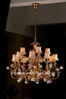 Luxury antique flowers chandelier,residential lighting,pendent lamp,copper gold plated(B50318)
