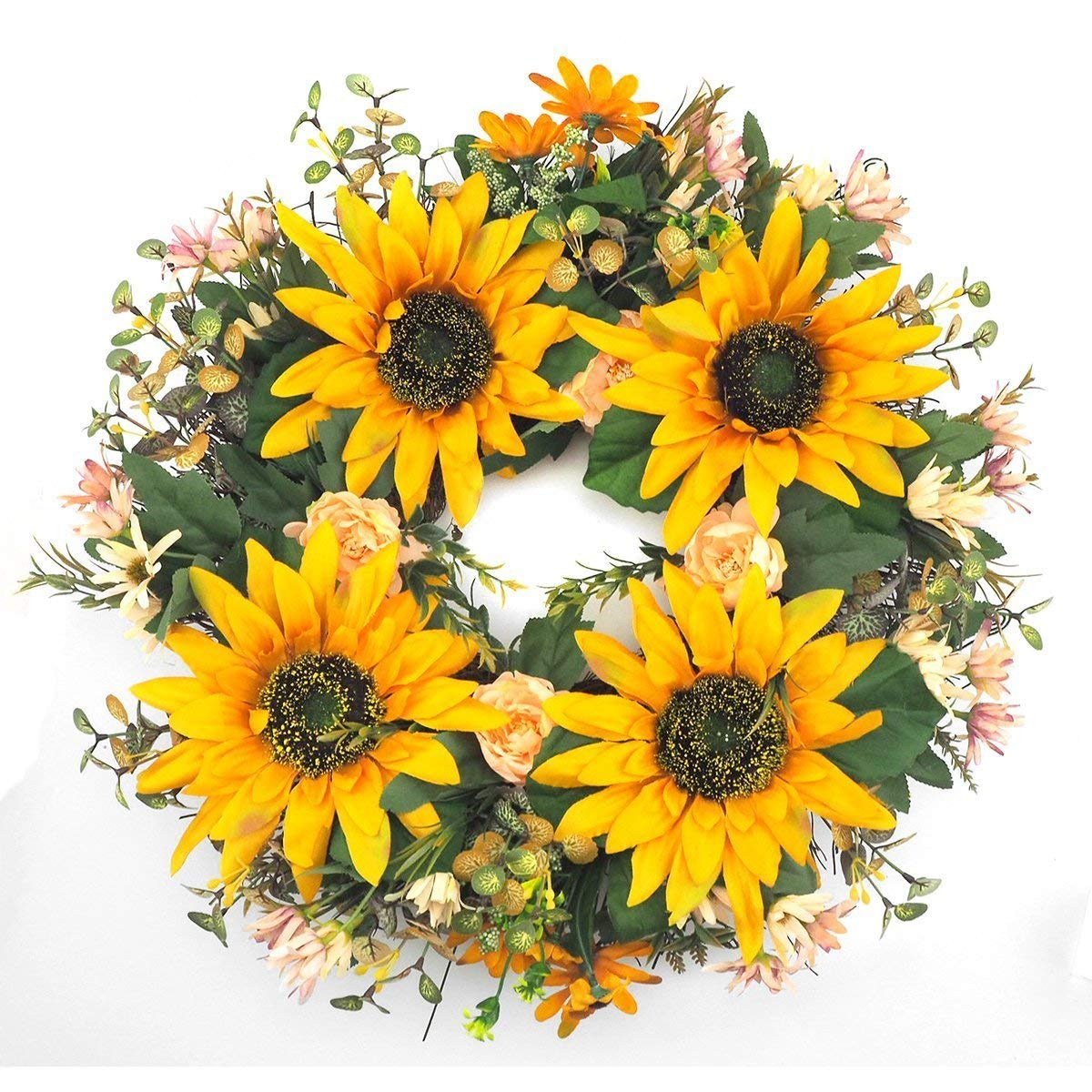 Emlyn Silk Sunflower Spring Door Wreath 19 Inch- Beautiful Silk Front Door Wreath For Summer And Fall Wreath Display, Handcrafted With Care,Wedding, Home Decor