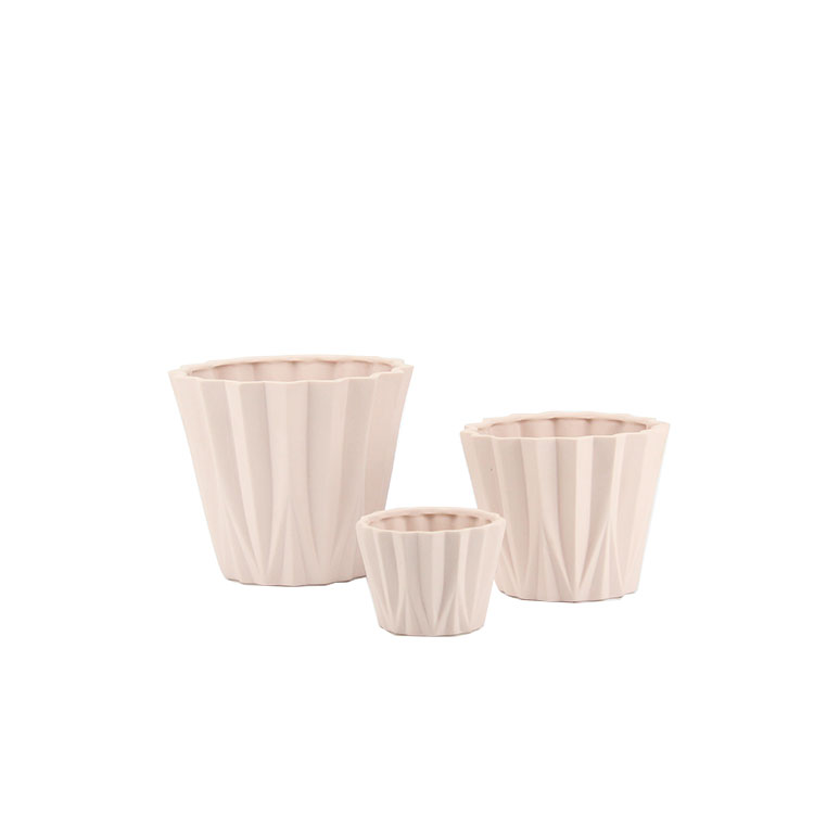 New design origami art lovely pink colored ceramic cactus plant pots / flower pot set