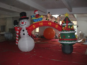 Promotion christmas inflatables snowman and christmas tree