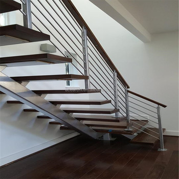 Modern Luxury Open Riser Mono Stringer Staircase With