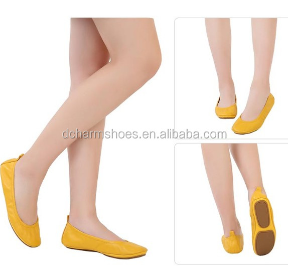 ballerina yellow ladies flat shoes fashion leather genuine EXq8xR