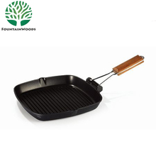 "Popular 8"" 9.5"" 11"" Aluminum Die-Cast Square Korea BBQ Grill Pan with Removable Handle"