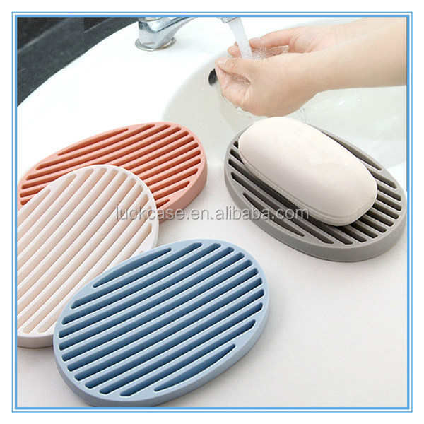 Hot sale Thickened silicone anti-slide drain soap rack/holder silicone bathroom accessories