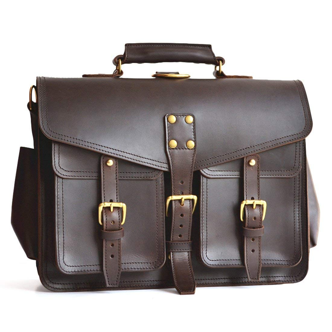 Marlondo Leather Wing Briefcase - Handmade Leather Messenger Bag, Mens Handmade Leather Satchel for Laptops