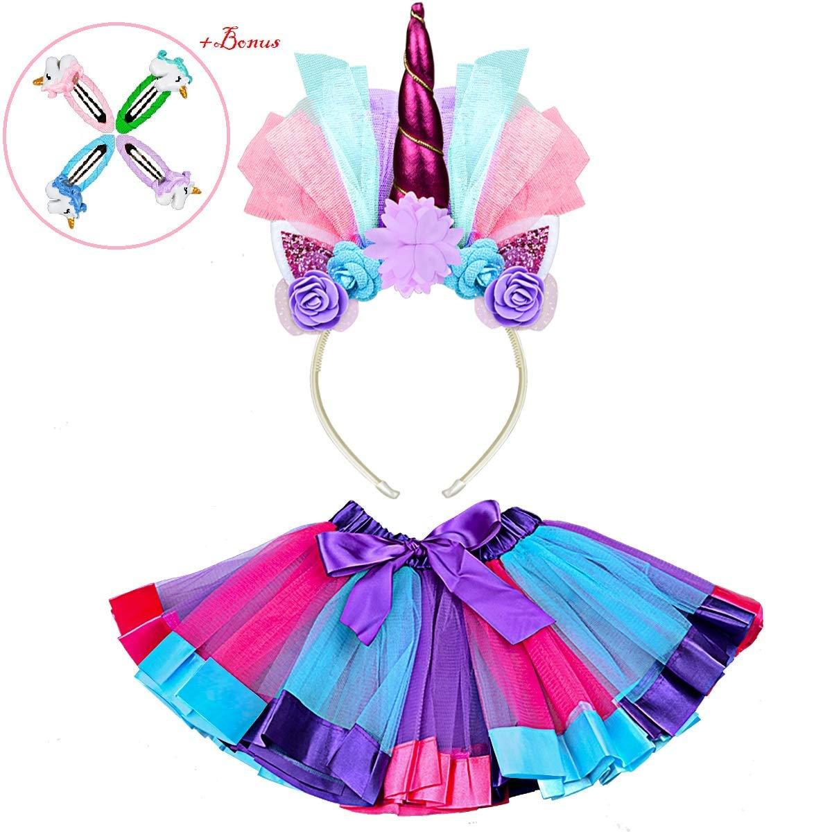 4627e7be372b Get Quotations · Tutu Dress with Unicorn Headband, Rainbow Mini Tutu Dress  with Elastic Waist