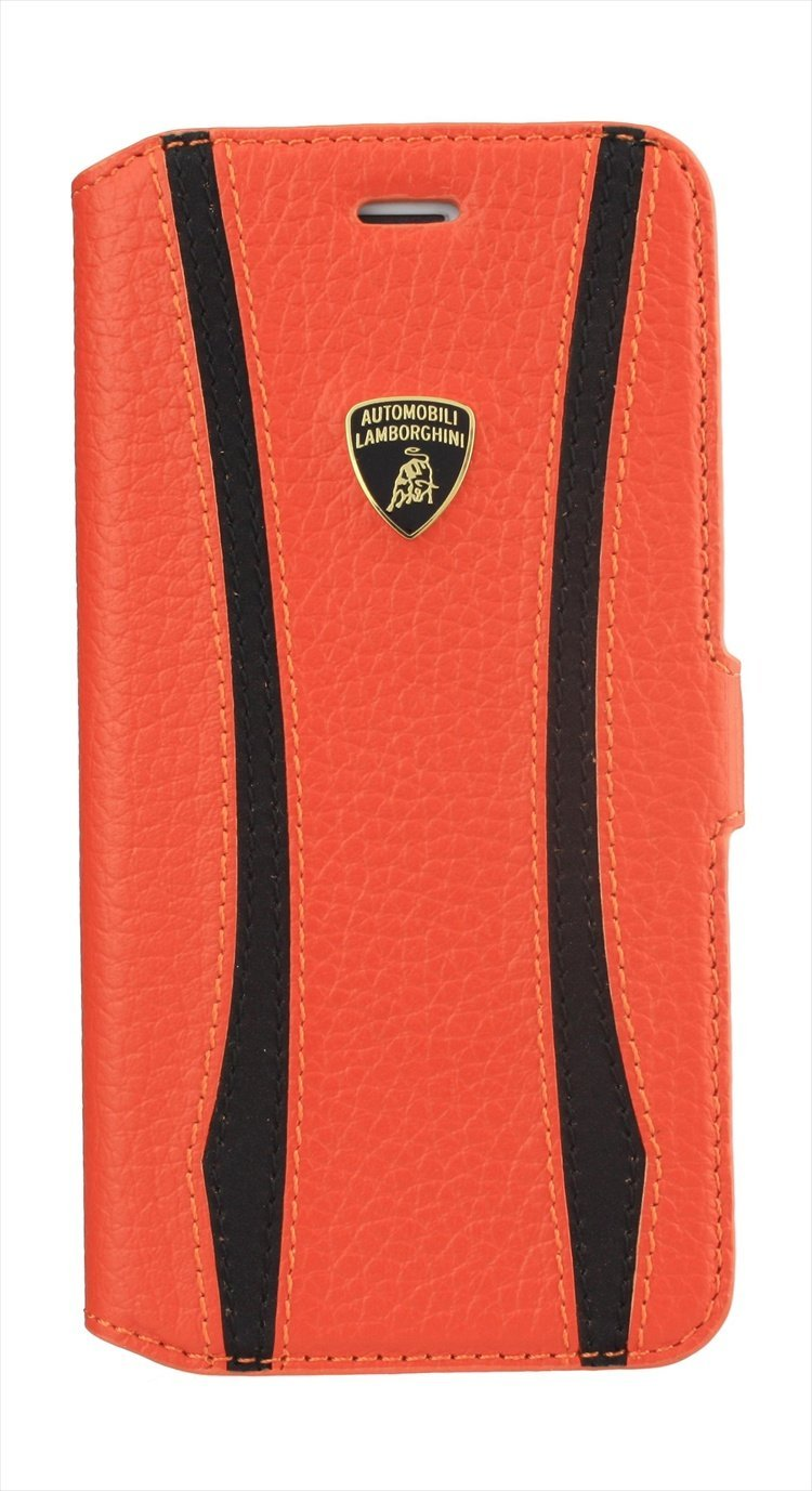 "Lamborghini E.T.-D1 Genuine Leather Ultra Slim Side Flip Case w/cardholder for iPhone 6, 4.7""- ORANGE"