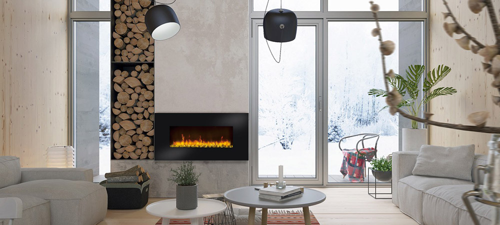 Stone Hot Selling Fireplace Led Flame Adjustable Thermostat Crystal pebble hanging Electric fireplace Wall Fire