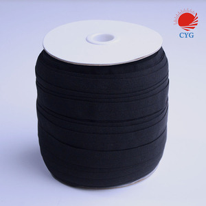 CYG-Black 12mm shinny FOE fold over elastic for clothe sewing