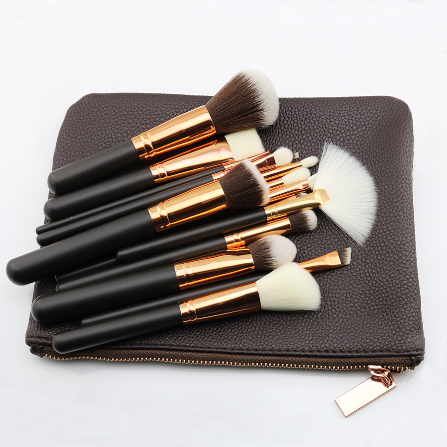 2017 New handbag PU Leather Bag private label Makeup Brush set 15pcs foundation make up brushes